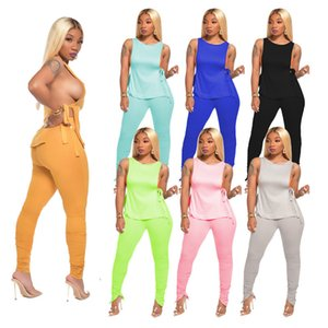 Summer Women Tie-Dye Solid Colors Tracksuit Sleeveless Lace Up Tees + Zipper Plicated Skinny Pants Two-piece Clothing Suit Sportswear D71402