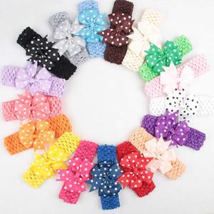 Bebek Çocuk Grogren Kırlangıç Şerit ilmek Bantlar Kızlar Bow Dot hairbands Örme Headwrap Kızlar Saç Aksesuarları 2 Stiller 45 Renkler M2377