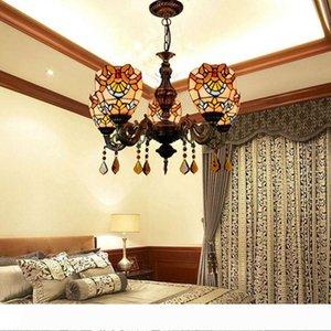 유럽 복고풍 창조적 따뜻한 컬러 유리 램프 티파니 객실 식당 바로크 샹들리에 TF032 생활 스테인드 글라스