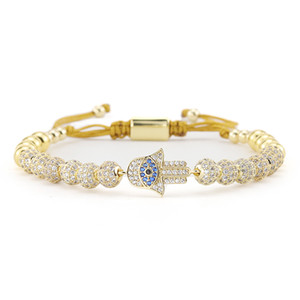 luxury CZ Evil hand Eyes bracelet Charm Gold Beads Braided macrame Adjustable handmade men Bracelets & Bangles for men Jewelry CX200724