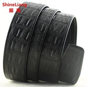 Width 3.5cm Men's automatic belt body No buckle Crocodile lines Leather luxury Designer high quality Black Brown Coffee Belts