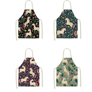 Female Sleeveless Cartoon Unicorn Apron Cotton And Hemp Pinafore Floral Prints Cooking Aprons For Home Kitchen Popular Creative