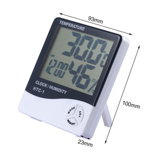 HTC-1 LCD Digital Temperatura Igrometro Hygromet Orologio Umidità Meter Home Iron Igrometro Outdoor Igrometro Termometro Termometro con orologio EWC453