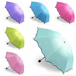 100шт / серия Зонтик Anti-UV Umbrella Зонт Зонт Magic Flower Dome Солнцезащитные Портативные 3-Сложенные пыле EEA18877