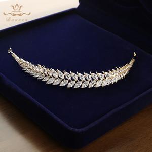 Bavoen Feuilles clair et élégant Zircon mariage Diadèmes Bandeaux Cristal Brides Accessoires cheveux Bijoux soirée Cadeaux d'anniversaire Y200727