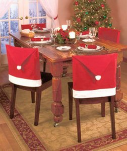 New Designer Christmas Chair Cover Santa Clause Red Hat Chair Back Covers Dinner Chair Cap Sets For Christmas Xmas Home Party Decorations