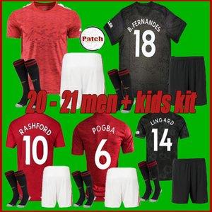 figli adulti 20 21 manchester maglia Pogba B. FERNANDES United Soccer 2020 2021LINGARD Lukaku RASHFORD MARZIALI maglia da calcio Utd uniformi kit