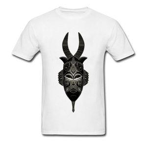 Última cuernos tribal de la máscara de la camiseta para los hombres O-Cuello Design Plus Tamaño único 100% Mans camiseta blanca de algodón envío de la gota