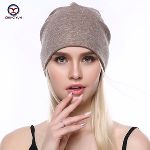 CHINGYUN Women Cashmere knit hat new soft Autumn Winter Warm Small rhinestone High Quality Female Solid Color Knitted Hat C19-15