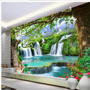 3d murals wallpaper for living room Simple green big tree forest waterfall landscape wallpapers background wall
