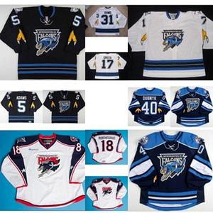 2017 Ahl Springfield Falcons 5 John Adams 17 Brady Greco Hombre para mujer Niños 100% Bordado Custom Hielo Hockey Jerseys Packit Cut Hot Hot