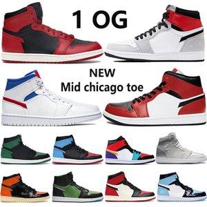 Nuovo 1 Jumpman mens scarpe da basket 1s alti Olimpiadi TOKYO fumo grigio chiaro metà Chicago uomini toe pallido avorio donne scarpe da ginnastica