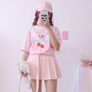 Harajuku Latte della fragola grafica maglietta di estate morbida Sorella Femmina Kawaii T-shirt manica corta Teenager Girl Pink Tee Tops