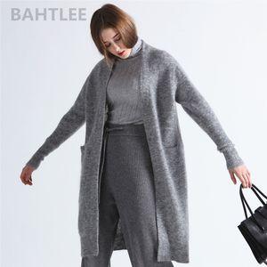 BAHTLEE primavera delle donne di autunno mohair lavorato a maglia Cardigan Blended Solid maniche lunghe Cappotto Casual Style pigro