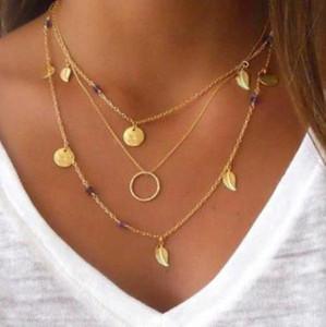New colar de cristal disco de folha frisado multi-camada de combinação item de colar de três camadas festa de verão moda personalidade diária acessórios s