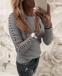 Boyun Üst Bahar İnce Bayan Casual Tee Tasarımcı Bayan İnci Patchwork Tshirts Moda Hollow Out Uzun Kollu Bayan Ç