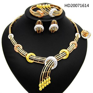 Yulaili New Tricolor African Charm Choker Necklace Earrings Bracelet Ring Nigerian Wedding Bridal Bridesmaid Party Jewelry Sets