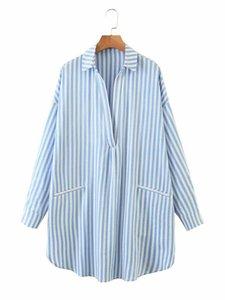 BIAORUINA Frauen-Japan-Art-Blau Striped lose lange Hemd Umlegekragen Langärmlig Weibliche beiläufige Maxi-Shirts