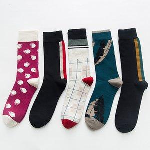 tamaño de los calcetines grandes Street tubo de mediados de los calcetines de los hombres de otoño e invierno calcetines de tubo de alta geométricas de la moda creativa estilo europeo