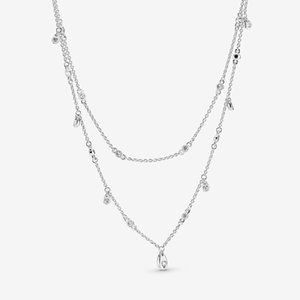 New arrival 925 Sterling Silver Layered necklace Cascade of Drops Fit European Pendants and Charms Fine Jewelry Gift