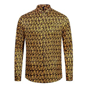 Camisas dos homens de alta qualidade Silk Cotton Slim Fit Casual T Shirt Men mangas compridas Medusa Shirts Preto floral do ouro impressão 19ss Mens Camisas de vestido