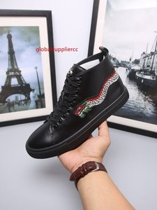 Men Leather high-top sneaker with Bee Blooms Snake Dragon Tiger Head Feline shoes HOT FASHION ACE