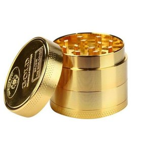 Herb Grinder Ice Glod Metal Tobacco Grinder Glod 4 layers Spice Crusher Smoking Pipe Hand Muller Smoke Accessories WY734