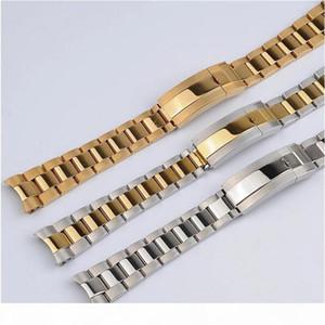için Watchband 20mm İzle Band Kayışı 316L Paslanmaz Çelik Bilezik Kavisli sonu Gümüş İzle Aksesuarları Man watchstrap