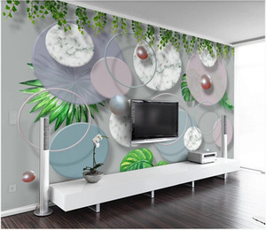 3d wallpaper custom photo mural Modern minimalist 3d geometric round marble mosaic living room background home decor wall art pictures