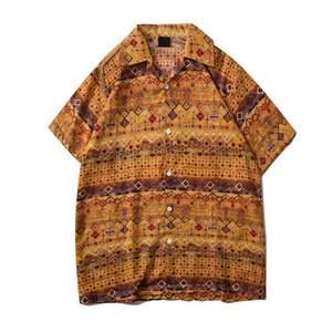 Tradition Chemise imprimée Hommes d'été en coton lin Chemise hawaïenne vintage T-shirt pour homme