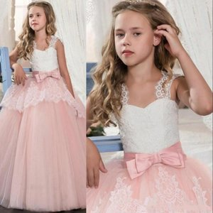 In Stock Princess White Lace Pink Flower Girl Dresses Lovely Ball Gown Party Wedding Girls Dresses with Bow Sash MC1791