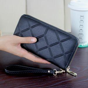 DORANMI cuir de bourse de portefeuille de femmes 2019 géométrique Sacs à main Wristlet long argent sac dames Porte-monnaie Porte-cartes d'identité NPJ002