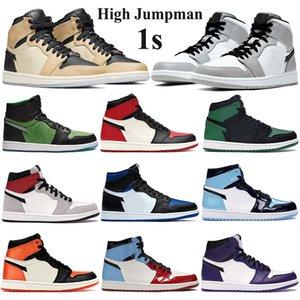 Nueva llegada 1 1s Jumpman baloncesto de los hombres zapatos de las mujeres de mediana luz gris humo criado dedo real de zoom de pino verde zapatillas Entrenadores de hongos negros