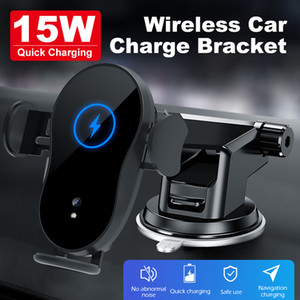 15W Car phone holder qi wireless charger for Samsung S20 S10 S9 S8 phone holder car phone power charger fast charger