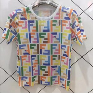 xshfbcl Women Tops Tees New Ice silk knitting Jacquard Short Sleeve T Shirt Fashion print blouse