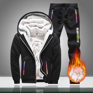 Erkek Eşofman 2021 Kış Erkek Sıcak Polar Rahat Kapüşonlu Setleri Erkek Kalın Fermuar Spor Suit Ceketler + Pantolon 2PC Conjunto Masculino
