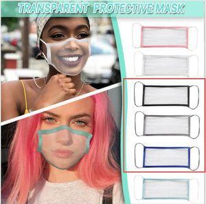 Deaf-mute Transparent Face Mask Washable Reusable Printing Masks Anti Dust Antifog Earloop Clear Designer Mask