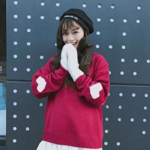 gestrickten Pullover 2020 Herbst-Winter-Koreanisch-Art süße reizende Jacquard Short Pullover Loose Women Sweater Top Netter 92J