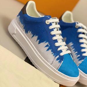 2020 Time Out Sneaker Femmes Plate-forme de veau Chaussures en cuir embossé Bleu Denim Blanc Monogramme Patchwork Formateurs en caoutchouc plat Chaussures Outsole
