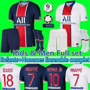 Maillot PSG Jersey 2021 Campione del PSG maglia da calcio Mbappe ICARDI GANA Verratti 20 21 Football shirt Uomo Bambini Kit maillot de foot