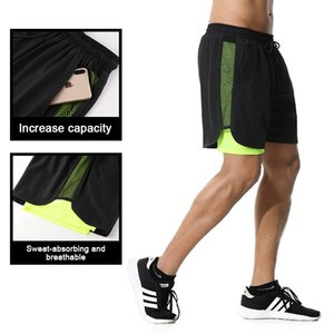Men's Casual Shorts 2 in 1 Running Shorts Quick Drying Sport Gyms Fitness Bodybuilding Workout Built-in Pockets Short Men