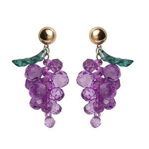 Fashion woman earring Acrylic girl Lovely grapes stud earrings joker sweet maiden wind fruit grape stud earrings
