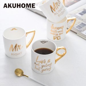 Creative Bone China Mug 24K Gold-plated European Style Ceramic Coffee Cups Porcelain Milk Cups Mr Mrs AKUHOME T200506