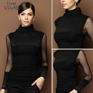 M 3Xl Sexy Lace Tops Autumn 2020 Blusas New Slim Plus Size T Shirt Long Sleeve Casual Shirt Beaded Openwork Women Clothing