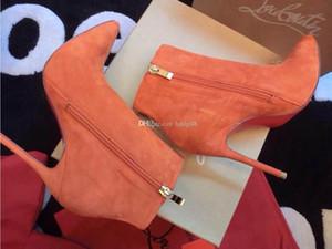 2020 {Original Box} Классический Женщины Марка Кружевные Высокие каблуки натуральной кожи Заостренный Toe платье Роскошные голеностопного зима красной подошвой Свадебная обувь Сапоги