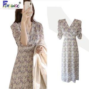 Temperamento vestido elegante caliente de las ventas verano de las mujeres Flhjlwoc estilo japonés floral Corea cosecha de impresión retro lindo vestido largo 5615