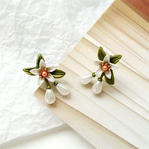 Delicate adorn article new pearl earring orange flower woman geometric earrings contracted fashion girl's party earrings