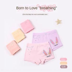 Eqd4P Love dream children's underwear underwear boxer girls cotton cartoon four-legged pants middle and primary school children's boxer pant