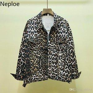 Neploe Leopard Autumn Fashion Women Jeans Jacket 2019 Long Sleeve Casual Loose Demin Coat Cool Streetwear Vintage Cowboy 54347