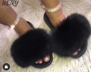 BIG FULL Real Fur Slippers Women Home Fluffy Sliders With Feathers Furry Summer Flats Sweet Ladies Shoes Large Size 45 Home